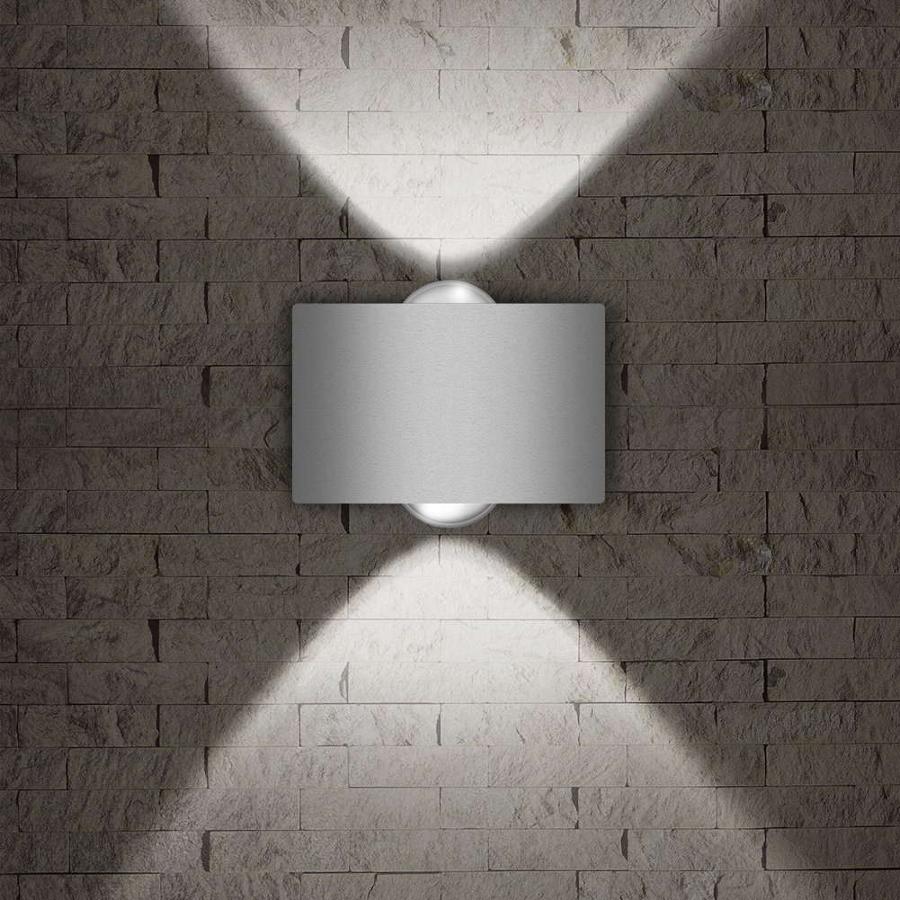 "LED Exterior Wall Lighting Fixtures,INHDBOX Interior Wall Sconces Lamp Waterproof Up Down Light White Outdoor/Indoor Decor 85-265V 2W-3""×2"""