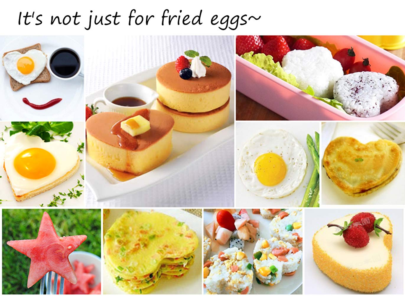 10Pcs Omelette Mold Fried Egg Mold Set in 10 Different Shapes Stainless Steel Fried Egg Ring with 1 Silicone Pastry Brush - Set of 11