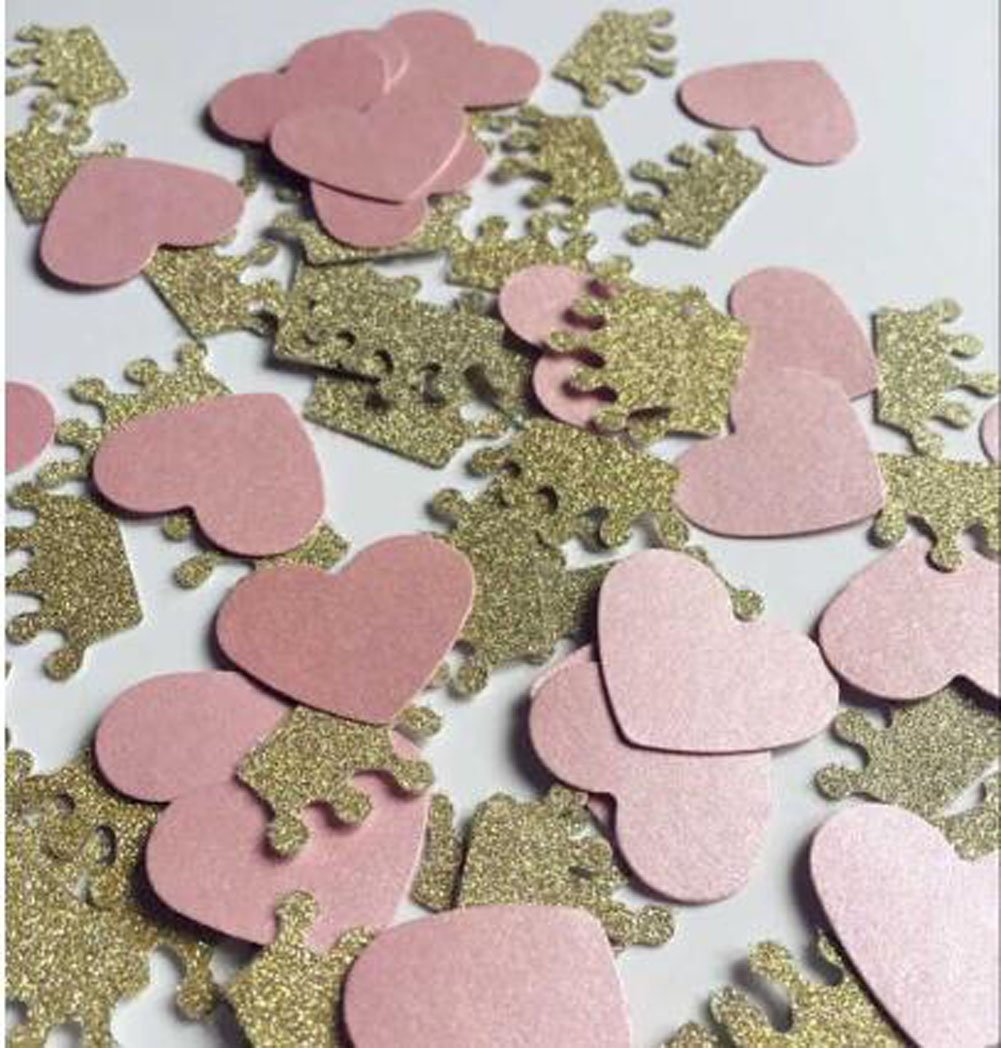 Double Sided Handmade Gold Glitter Paper Crown Confetti Baby Shower Birthday Party Table scatters Pink Heart Scatters 200PCS Wedding Confettis