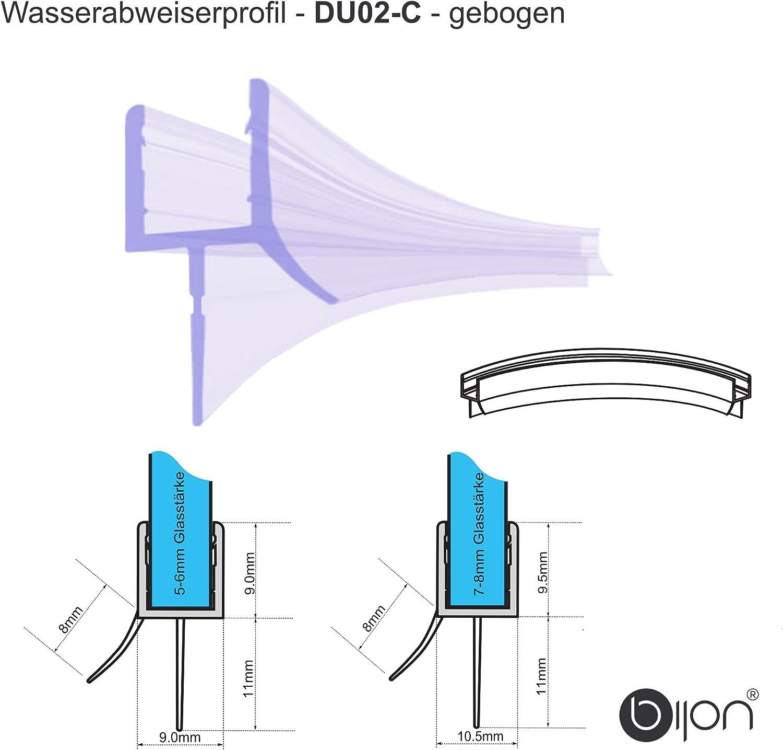 30cm Wasserabweisprofil mit Balg gebogen f/ür 6mm Glas DU01-C