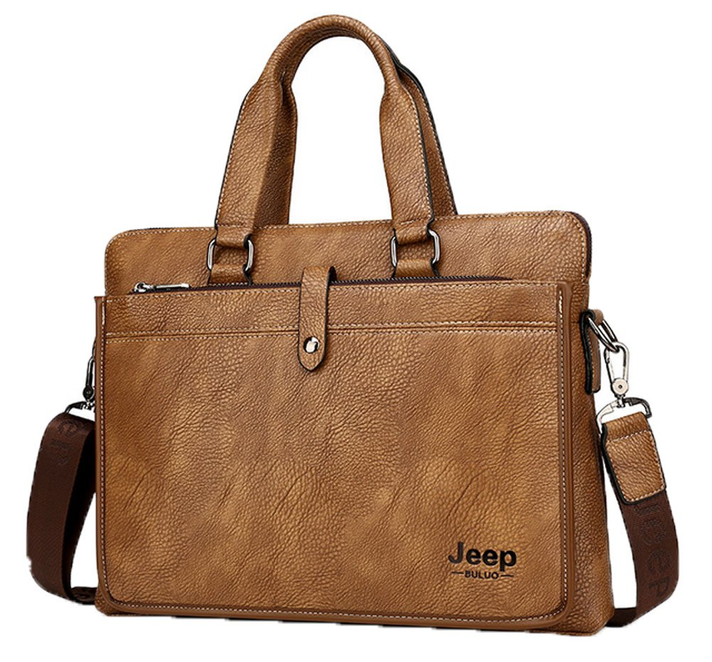 219c9d5d99 Amazon.com  Shmily B Mens PU Leather Briefcase Messenger Bag Shoulder  Laptop Handbag (Khaki)  Computers   Accessories