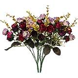 Houda - Bouquet di rose, fiori artificiali in seta, rami con boccioli, decorazione floreale per matrimonio, confezione da 2 Purple Coffee