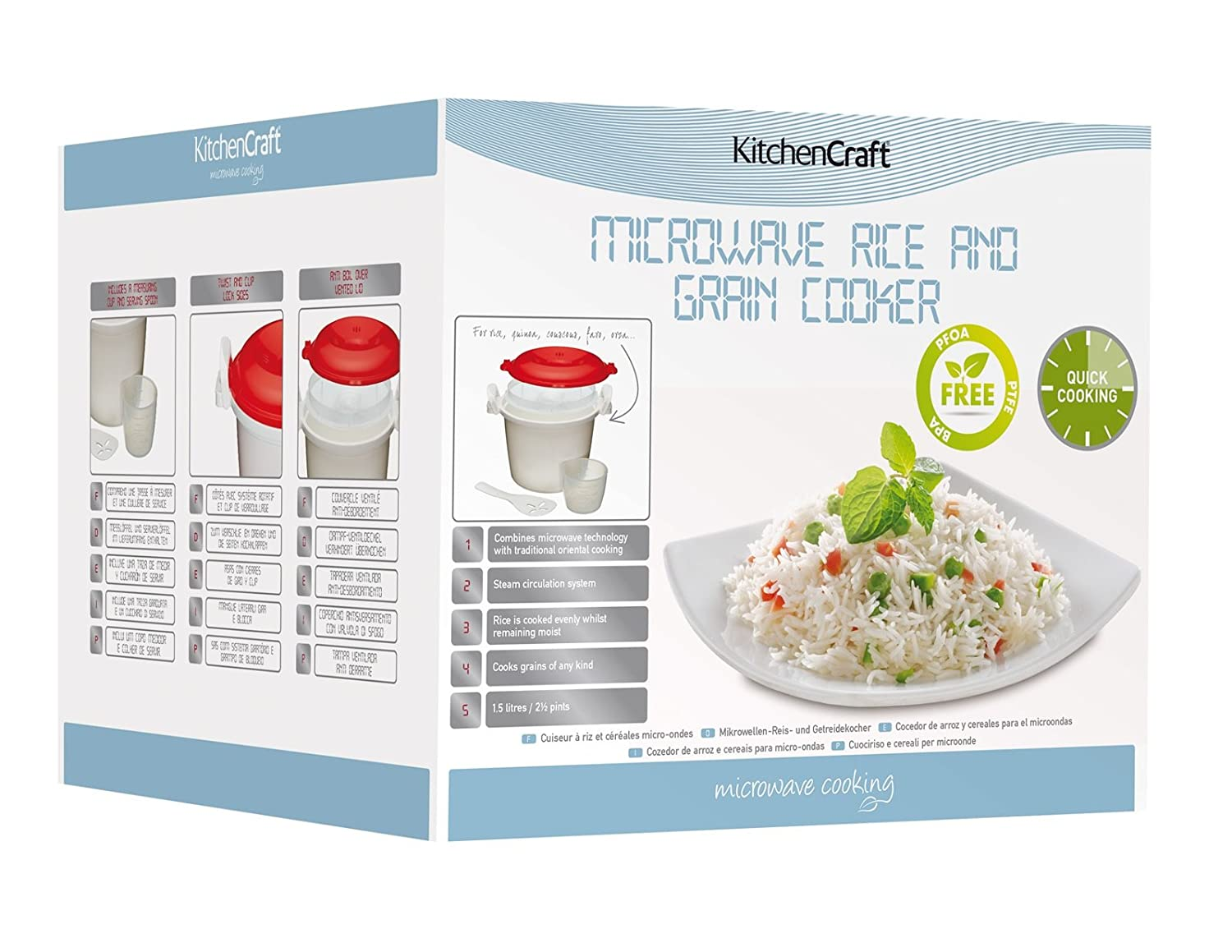 Kitchen Craft Arrocera para microondas de 1, 5 litros de Capacidad ...