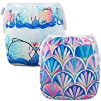 ALVABABY Baby Swim Diapers 2pcs One Size Reuseable Washable & Adjustable for Swimming Lesson & Baby Shower Gifts SWD52-53-AU