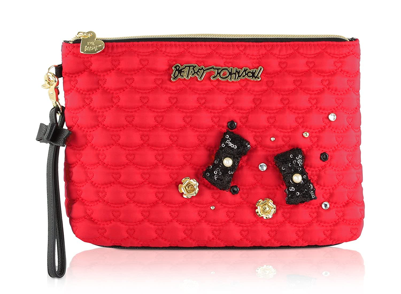 Betsey Johnson Nylon Large Wristlet Pouch Cosmetic Case Bag BRC16385