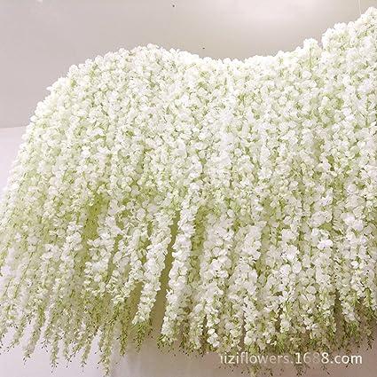 Amazon 40 long artificail silk white wisteria flower vine 40quot long artificail silk white wisteria flower vine wedding home plant decor junglespirit Choice Image