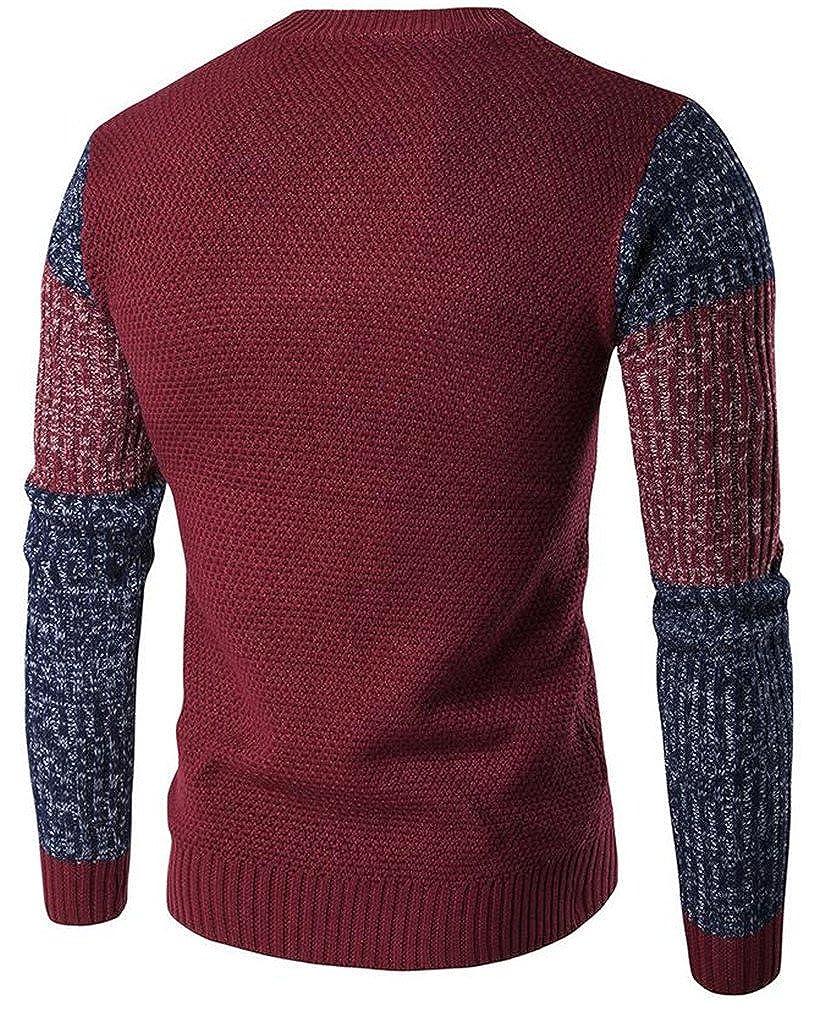KXP Mens Ralgan Sleeve Slim Crewneck Thicken Pullover Sweaters Claret XS