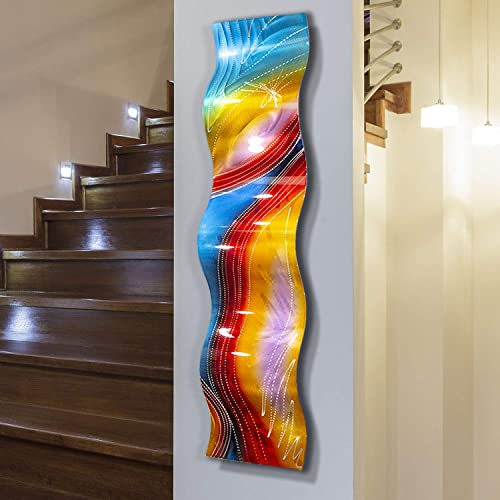 Statements2000 Multicolor Contemporary Metal Wall Art Sculpture, Abstract Wall Decor by Jon Allen Metal Art, Accumbent Wave, 46 x 10