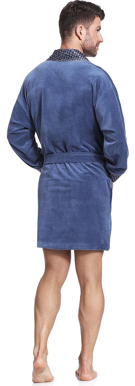 Timone Bata de Terciopelo Vestidos de Casa Hombre 772(Jeans, XXL): Amazon.es: Ropa y accesorios
