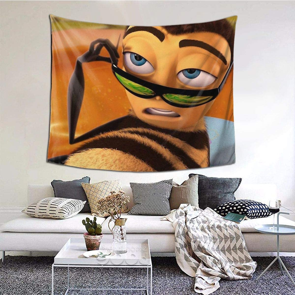 Barry Benson is Hot Af - Bee Movie Meme Living Room Home Art Decor Tapestry Bedroom Dorm Wall Hanging 60 X 51 Inch