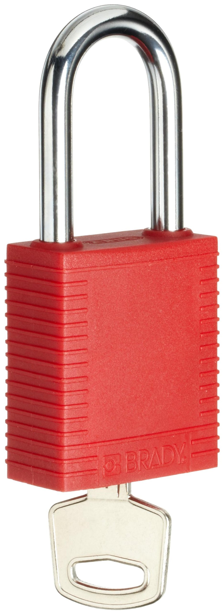 Brady Plastic Lockout/Tagout Padlock, Keyed Different, 1-3/4'' Body Length, 1-1/2'' Shackle Clearance, Red (Pack of 1)