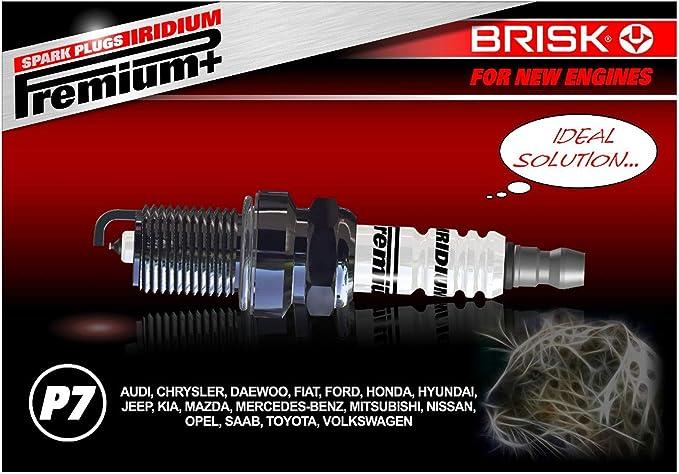 BRISK Iridium Premium+ Plus P7 1625 Bujías de Encendido, 4 piezas ...