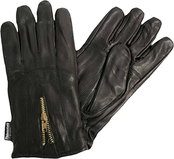 Men/'s GENUINE LAMBSKIN Leather winter driving MOTORCYCLE glove with Zipper