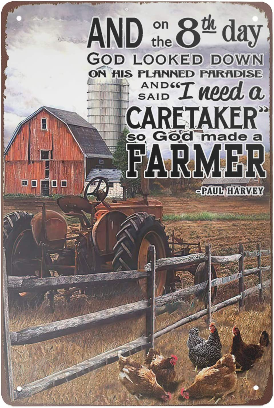 Super durable Tin Sign Tractor and Chickens on The Farm Vintage Decor Farm barn coop Home Wall Decoration Funny Metal Sign 8x12 inch