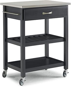 Amazon Com Vineyard Black Kitchen Cart With Stainless Steel Top By Home Styles Kitchen Islands Carts