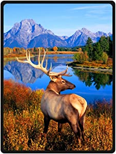 JIUDUIDODO Home Bedding & Beautiful Keep Warm Gifts True Love Beautiful 4th July Elk Blanket 58 Inches x 80 Inches Sofa/Bed Used Gift for Family/Friend