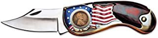 product image for American Flag Coin Pocket Knife with 1909 First Year of Issue Lincoln Penny | 3-inch Stainless Steel Blade | Genuine United States Coin | Collectible | Certificate of Authenticity