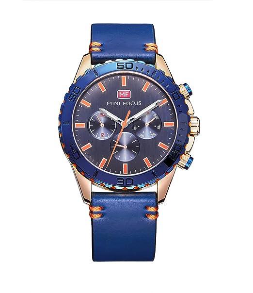 Todo el reloj azul reloj azul de los hombres populares del dial reloj ocasional fresco fresco de la manera exhibición análoga con la venda de cuero azul ...