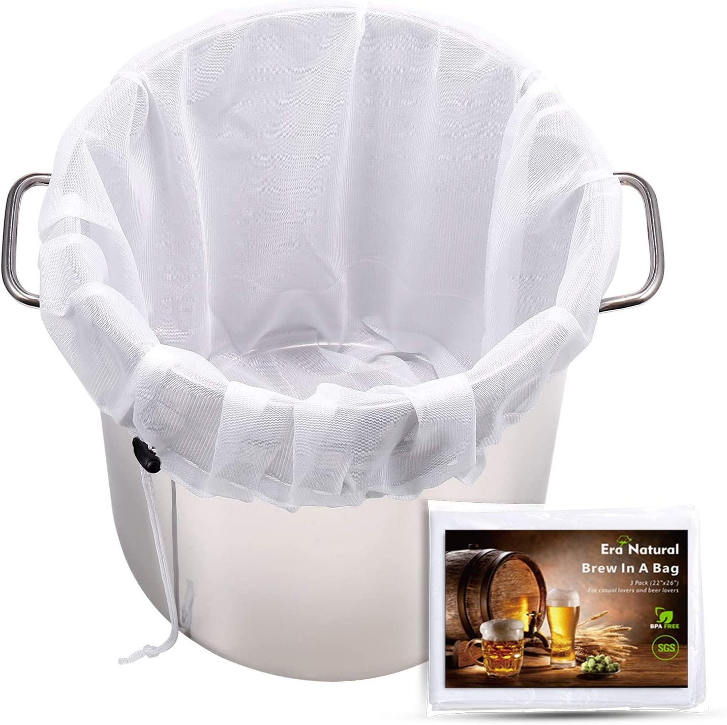 """Extra Large Brew Bags Reusable, 3 Pack 26""""x22"""" Fine Mesh Strainer Bag for Home Brewing Hops Grains Fruit Cider Apple Grape Wine Beer Making Press Drawstring Straining Brew in a Bag"""