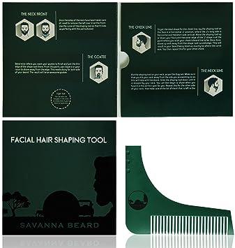 SAVANNA BEARD Herramienta plantilla para peinar y recortar la barba con guía para lograr simetría perfecta al afeitar - Úsala con tijeras o navaja ...