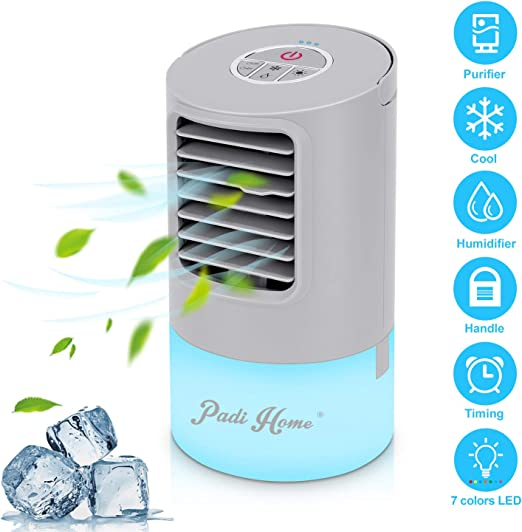 Personal Air Cooler 3 in 1 Mini Portable Air Conditioner with 3 Speeds Fan 7 Colors LED Sleeping Lights AC Air Conditioner Purifier for Room Indoor Office Bedroom Living Room