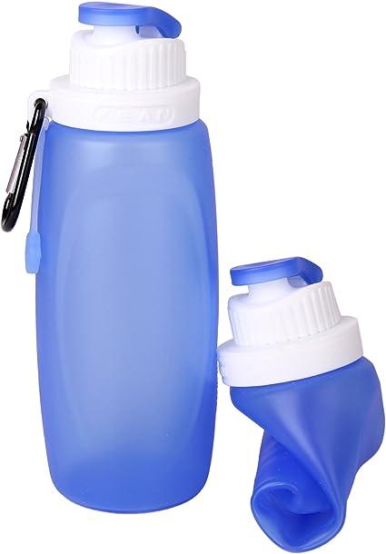 Réutilisable Pliable Bouteille d/'eau Gym Cyclisme Poche Sac Bleu Léger Bouteille