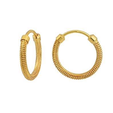 Buy Rn Gold Plated Brass Round Small And Sober Design Hoop Bali