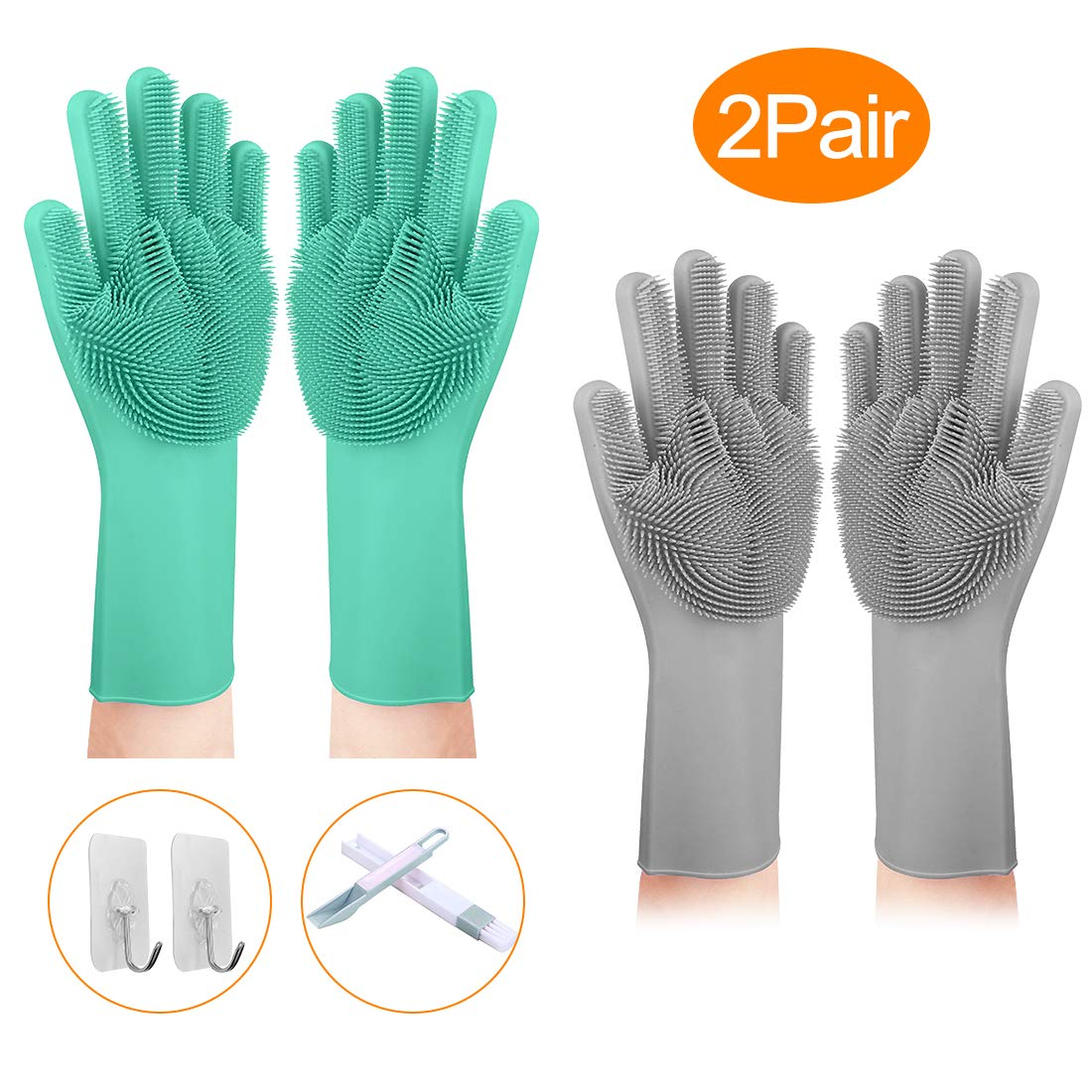 Scrubbing Gloves, 2Pair Magic Saksak Silicone Dishwashing Gloves, Cleaning Gloves with Wash Scrubbers, Great for Kitchen,Bathroom,Household,Pet Hair Care,Car Washing.
