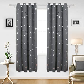 Amazon Deconovo Blackout Curtains Silver Star Print Solid Thermal Insulated 52 X 63 Inch Grey One Pair Home Kitchen