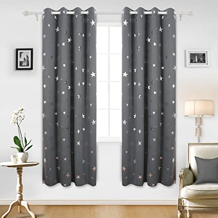 Wonderful Deconovo Stars Foil Printed Thermal Insulated Ready Made Curtains Eyelet  Blackout Curtains For Nursery 46 X