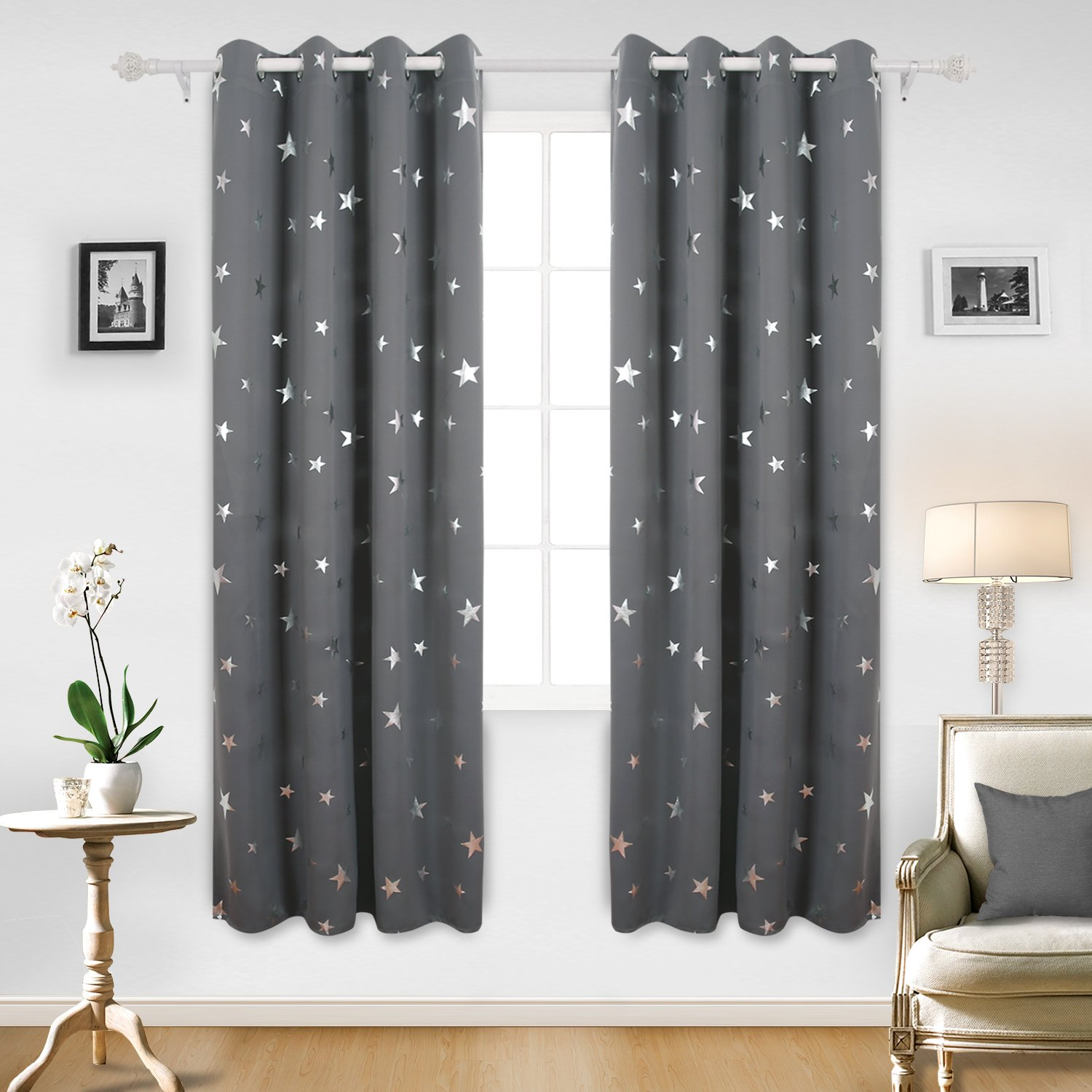 Deconovo Blackout Curtains Silver Star Print Solid Thermal Insulated Blackout  Curtains For Bedroom 52 X 84 Inch Grey One Pair
