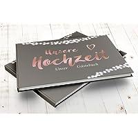 Gästebuch Hocheit mit Fragen Hochzeitsgästebuch Twinkle Rose edel Hardcover Grau Rosegold