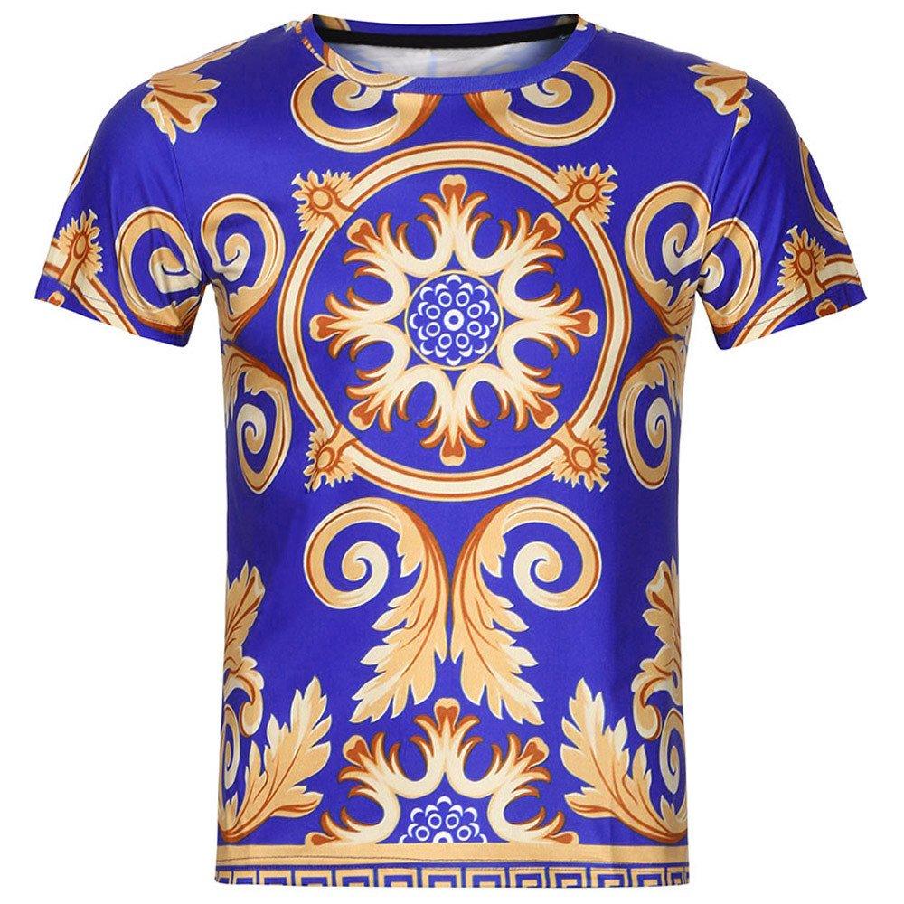 Mens 3D Print T-Shirts Funny Causal Blouse Summer Short Sleeve Top