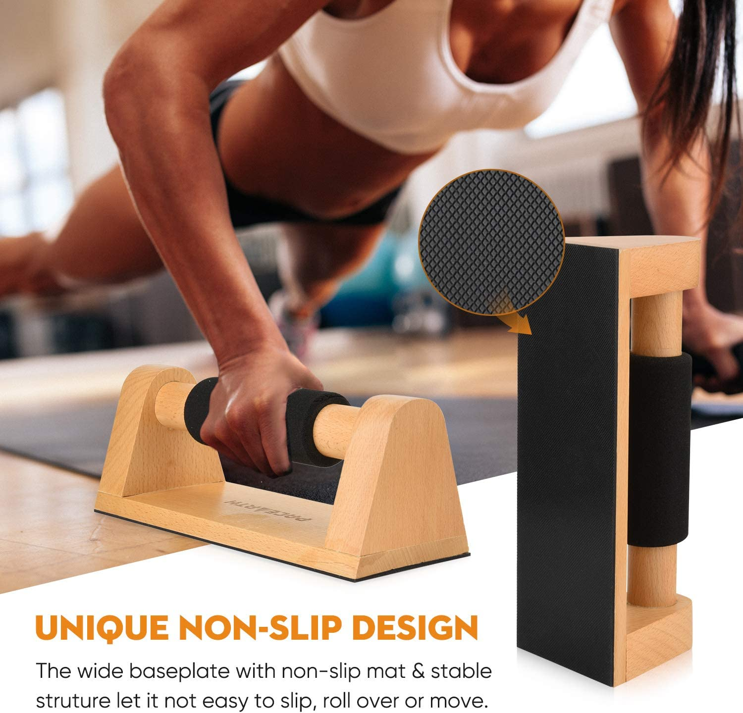 Set of 2 PACEARTH Wood Push Up Bars for Men and Women Push Up Stand with Non-Slip Comfortable Rubber Grip Sturdy Pushup Stands for Home Gym Fitness Body Building Muscle Training Workout Equipment