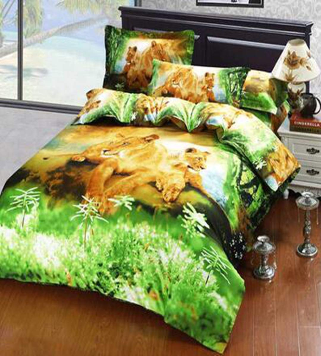 HUROohj 3D,The New Bedding Four Sets,European Style,Bedding Kits( 4 Pcs) for Bed Size Twin/Queen/King,-Queen