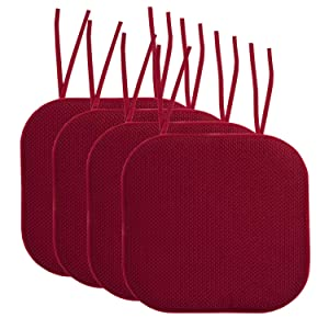 "Sweet Home Collection Chair Cushion Memory Foam Pads with Ties Honeycomb Pattern Slip Non Skid Rubber Back Rounded Square 16"" x 16"" Seat Cover, 4 Pack, Wine Burgundy"