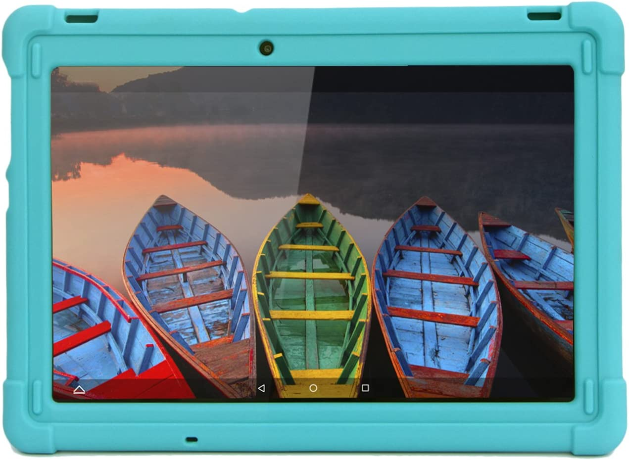 MINGSHORE Case for Lenovo Tab 2 A10-70 A10-70F A10-70LC and Lenovo Tab 3 TB3-X70 TB3-X70F TB3-X70L, Kid Friendly Rugged Silicone Bumper Case Not for TB-X103F (Turquoise)