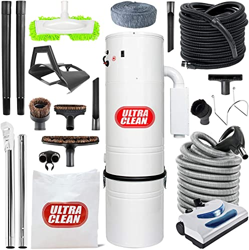 Canadian Made Central Vacuum Ultra Clean Unit 7,500 sq. ft. 30 Electric Hose Powerhead Attachemnets, Garage Kit
