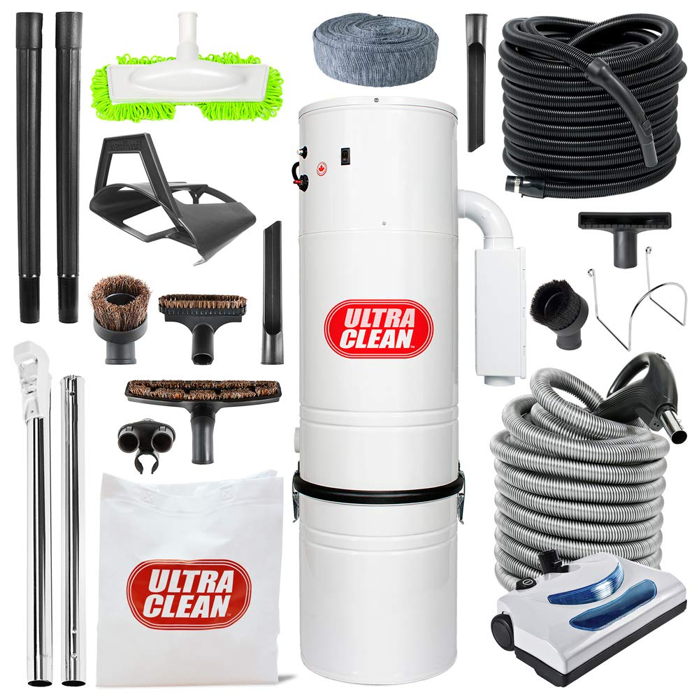 Ultra Clean Top Quality Canadian Made Central Vacuum Unit 7,500 sq. ft. 30' Electric Hose/Powerhead Attachemnets, Garage Kit & Accessories by Ultra Clean