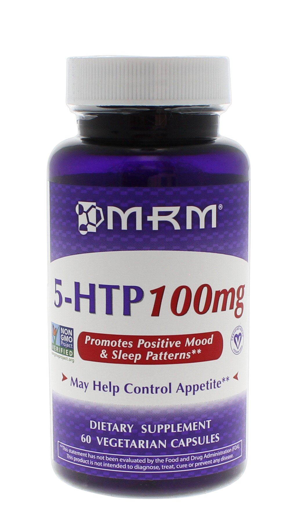 MRM 5-HTP Vegetarian Capsules, 100 mg, 60-Count Bottles