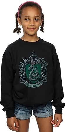 HARRY POTTER niñas Slytherin Distressed Crest Camisa De Entrenamiento 12-13 Years Negro