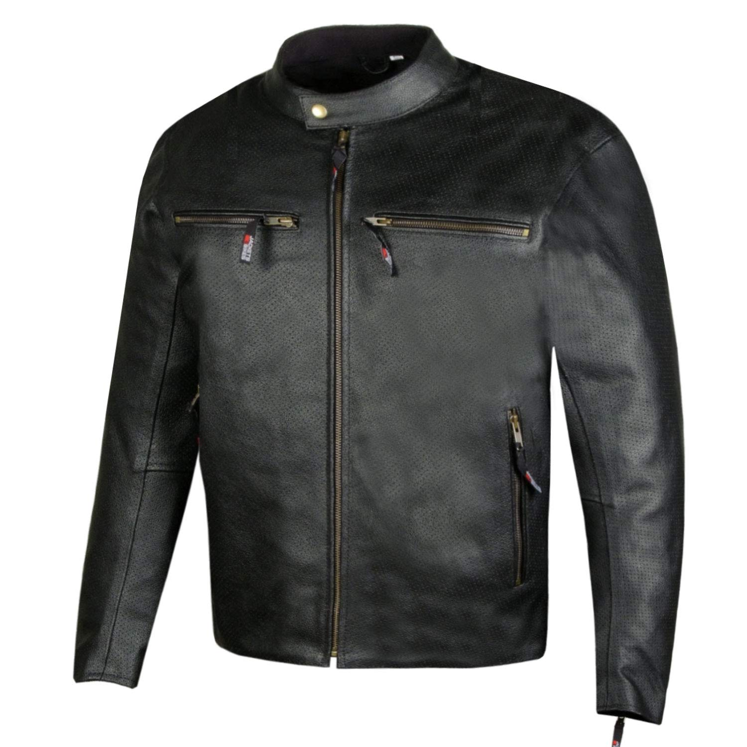 Mens Infinity Airflow Perforated Leather Motorcycle Armor Biker Jacket XXL