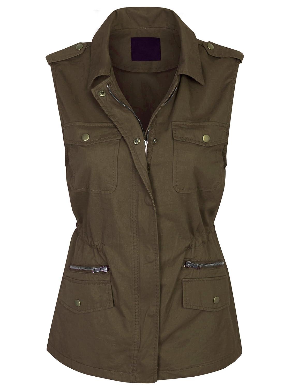 Kogmo Womens Military Anorak Safari Utility Vest by Kogmo
