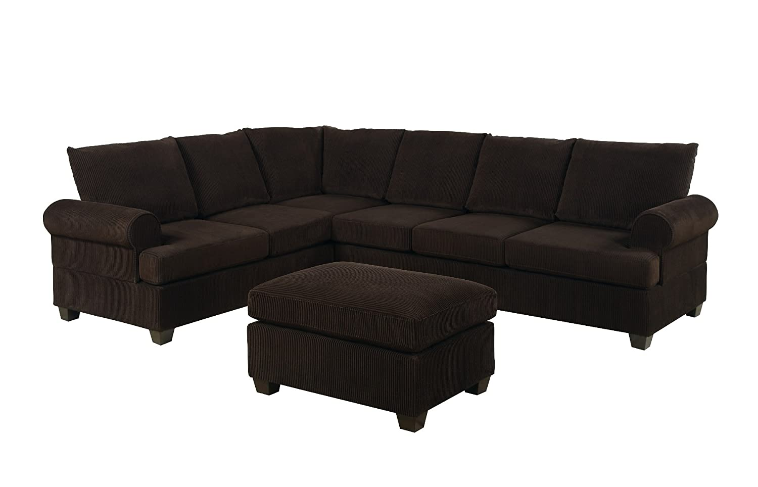 Amazon.com: Bobkona Miranda 3-Piece Reversible Sectional with ...