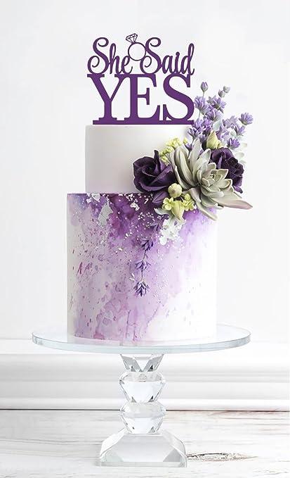 usa sales she said yes cake topper purple bridal shower
