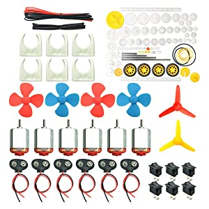 EUDAX 6 Set DC Motors Kit, Mini Electric Hobby Motor 3V -12V 25000 RPM Strong Magnetic with 86Pcs Plastic Gears, 9V Battery Clip Connector,Boat Rocker Switch,Shaft Propeller for DIY Science Projects