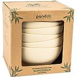 pandoo Bamboo Bowls Set of 6 - BPA-Free & Food Safe - Picnic & Camping Crockery | Tableware Dinnerset | White