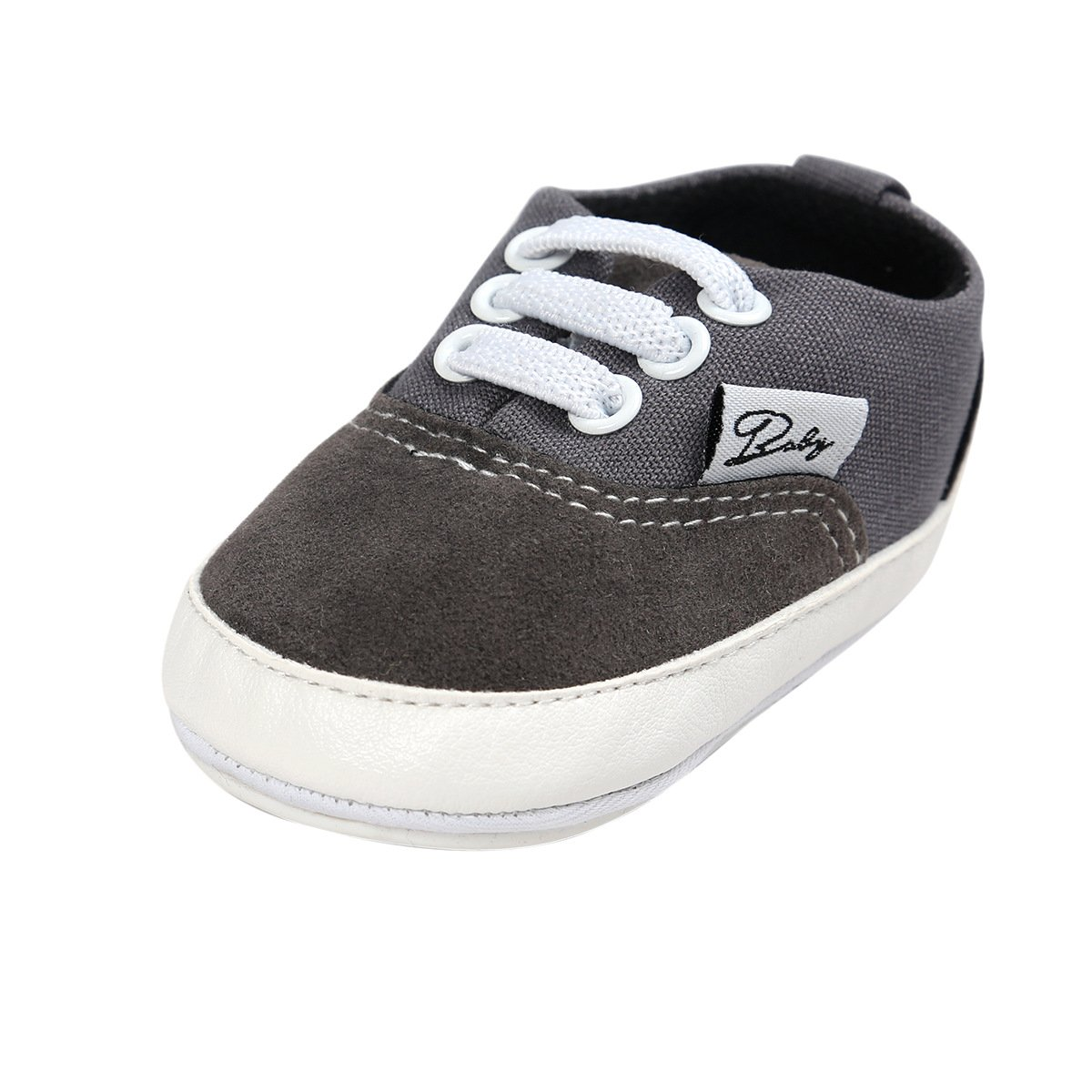 BENHERO Baby Boys Girls Canvas Toddler Sneaker Anti-slip First Walkers Candy Shoes 0-24 Months 12 Colors (13cm(12-18months), Grey)