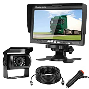 Emmako Backup Camera and 7'' Monitor Kit For RV/Truck/Trailer/SUV/Bus/Pickup IP68 Waterproof Night Vision Camera Guide Lines ON/Off With Single Power Rear/Front View System Reversing/Driving Use