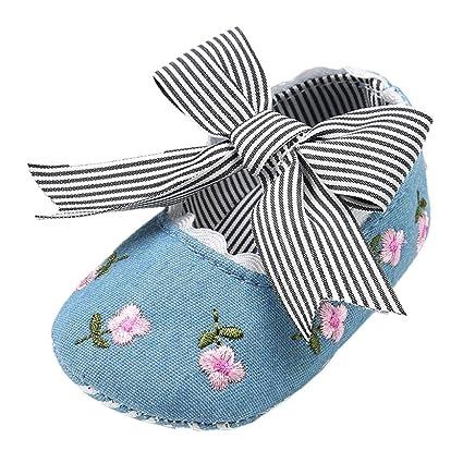 6fa675db58533 Elaco Infant Baby Girls Moccasins Anti-Slip Soft Sole Princess Shoes (0~6  Month, Blue)
